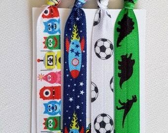 Hair tie elastics unisex mix - rockets, dinosaurs, soccer, monsters