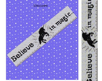 Loom beading pattern, Loom pattern, Bead loom pattern, Unicorn print, Miyuki Delica, Square stitch, Cuff bead pattern, PDF instant download