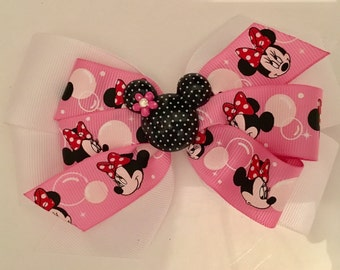 Pink Minnie Mouse Bow, Pink and White Minnie Bow, Disney Hair Bow, Minnie Bow with Minnie Center, Pink Polka Dot Bow