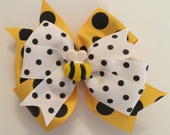 Bumble Bee Hair Bow Bee Bow Yellow and Black Bee Bow Summer Hair Bow Polka Dot Bumble Bee Bow