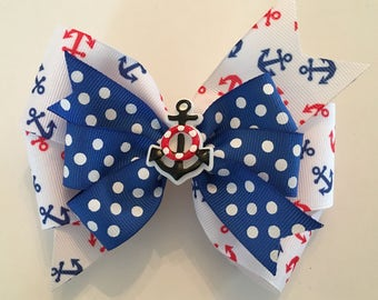 Nautical Hair Bow Fourth of July Bow Patriotic Bow Red White Blue Anchor Bow with Anchor Sailing Bow July 4th Bow Bow with Anchors