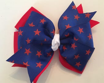 Fourth of July Hair Bow July 4th Bow Red and Blue Bow with Stars Patriotic Hair Bow Royal Blue and Red Bow