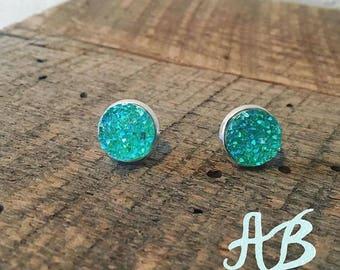 Druzy Earrings- Mint Green