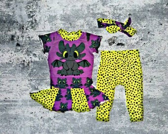 Purple Toothless Outfit, Baby Tunic Dress, Toothless Leggings, Baby Headband, Dragon Outfit, Fantasy Dress, Galaxy Dress