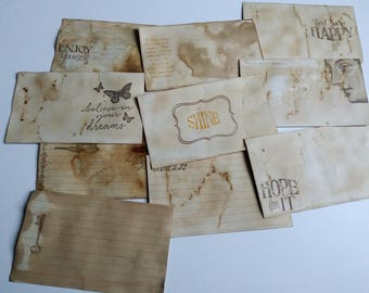 Hand Stamped and Coffee Stained Index Cards