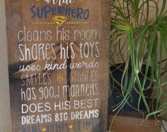 Wooden Sign | A True Superhero | Boys Room | Boy Decor| Boy Nursery Decor| Denneystudio
