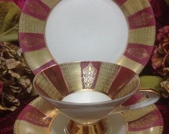 OSCAR SCHALLER- WINTERLING, Germany-c1940s cup, saucer & dessert plate