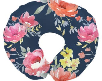 Navy Midnight Floral Bouquet | Floral, Watercolor, Navy, Hot Pink, Flowers Baby Girl Nursing Pillow Cover