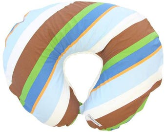 Diagonal Striped | Blue and White Nursing Pillow Cover
