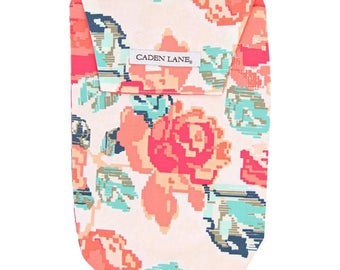 Everly's Garden | Coral and Navy Diaper and Wipe Holder