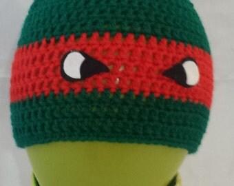Ninja Turtles crochet baby beanie