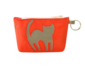 Purses//Keychain//Coin & Key Happy cat//red//cat Chartreux//eco design//cruelty free//made in Italy//Vegan
