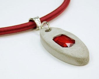 Necklace with ruby red rhinestone stone concrete jewelry unique on red silk ribbon concrete jewelry red neck Jewelry Mother's Day gift Valentine
