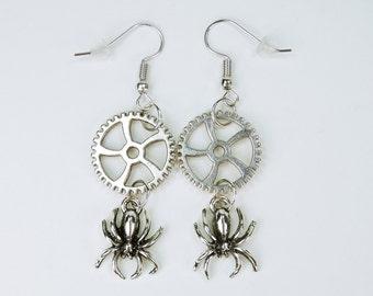 Earrings gears with spiders on Silver earrings earrings jewelry hanging earrings steampunk gear spider Halloween