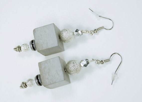 Earrings concrete made of grey concrete with pearls on Silver pendant concrete concrete cube Concrete Jewelry Earrings