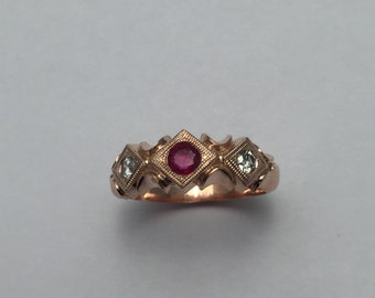 Style#141-14KT Antique Vintage Rose Gold Engagement ring Set With one Genuine Ruby 3.5 mm and two 2.5 diamonds