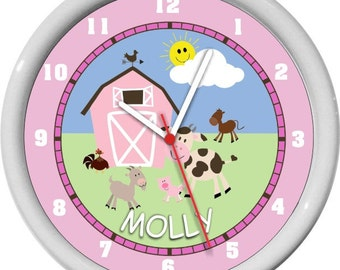 Girl Farm Animals Nursery Wall Clock Personalized