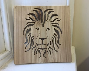 Lion Silhouette made from Western Red Cedar