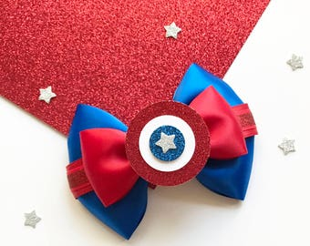 Captain America Inspired Hair Bow