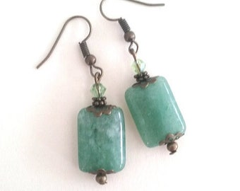 Green Adventurine stone earrings with green crystal on bronze spacers and caps.