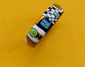 Art Bangle from wood Handmade Gold Black Blue  Orange Yellow White Green acrylic painting Hundertwasser Ladies Gift
