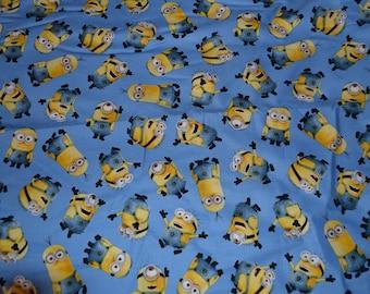 "One piece 12"" x 42"" Minions Fabric Blue Background 100% cotton"