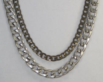 Y-23 Vintage Necklace  silvertone and brass 22 in long