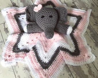 Crochet Elephant Lovey Blanket Toy