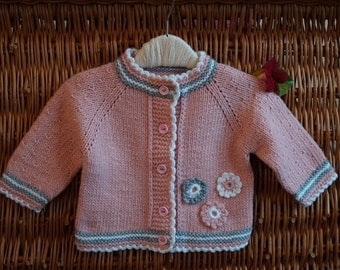 Baby knitted sweater. Newborn cardigan. Knitted baby shower. Hand Knit Sweater. Cashmere/ Merino Wool Baby Jacket. Pink cardigan.