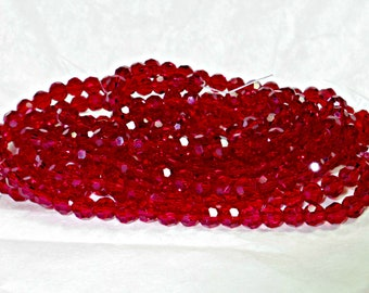 Red Siam, 4mm Round, Crystal Faceted Beads, (25/50/75 Pc), DIY Jewelry, Bead Supply