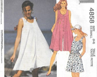 """Vintage 1990 McCall's 4848 Romper Jumpsuit Sewing Pattern Size Small 6 to 8 Bust 30 1/2"""" to 32 1/2"""""""
