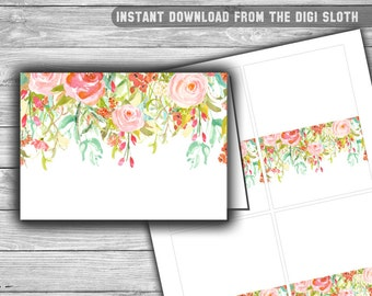 Floral - Pink - Baby Shower - Food Tents - Place Cards - Labels - PRINTABLE - INSTANT DOWNLOAD - Buffet Labels - 060