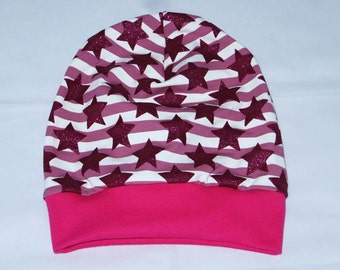 Beanie Hat KU 51-54 glitter stars purple pink