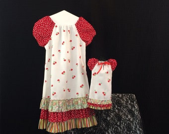 Matching Girl Doll Clothing, Girls Dress Size 7 - 8, Medium, 18 Inch Doll Clothes, American Made Dress, White And Red Dress, Flower Dress