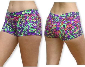 Booty shorts 'Rainbow Mayan'. Sexy Yoga pants hot pants. Rave shorts, Cotton spandex booty shorts women. Yoga Booty shorts, UV hotpants.