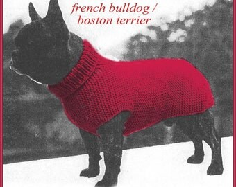 Knitting pattern for Dog sweater to fit a French Bulldog or Pug