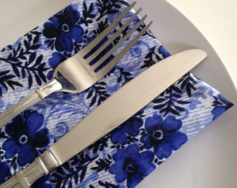 Cloth Napkins: Pansies in Midnight Blue