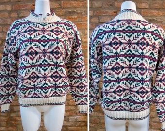 Vintage Sweater • 90s American Eagle Outfitters For Her • Medium Thick Cotton Sweater • Tribal Sweater Knit Pullover • Purple Abstract Print