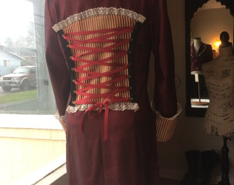 """Red Tailcoat Jacket with Stripe Details- """"Penelope"""""""