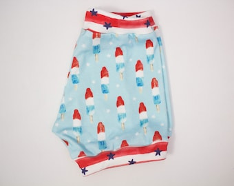 Rocket Pops patriotic shorties, baby shorts, toddler shorts, fourth of July, red, white and blue, rockets, patriotic shorts