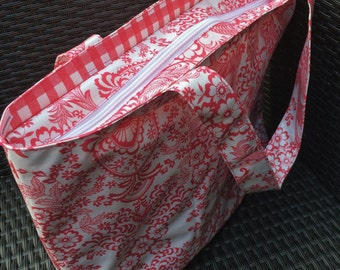 SALE 20% OFF pink oilcloth bag