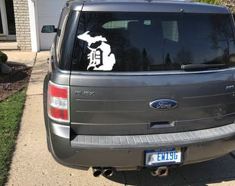 Michigan Old English D Vinyl Decal Detroit Tigers Sticker