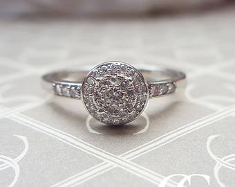 9ct White Gold Diamond Cluster & Shoulder Ring - Vintage Engagement Anniversary