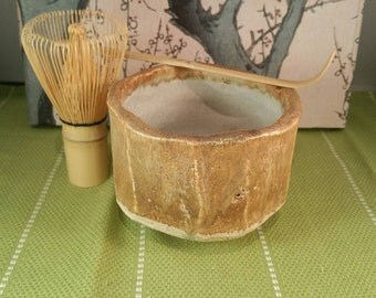 Brown chawan set, matcha teabowl for Japanese tea ceremony with bamboo whisk and spoon