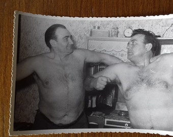 Vintage photo of 2 man. Who is stronger? 60's photo