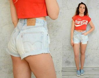 Levis 501 shorts High waisted Vintage Cutoffs light blue denim woman 1990's cut off waist M/L size