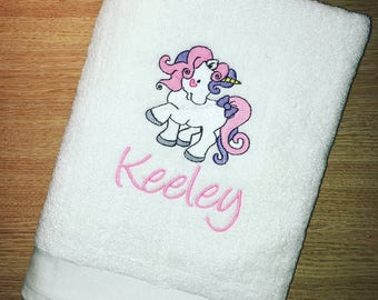 Personalised Embroidered Unicorn Bath Towel 100% Cotton