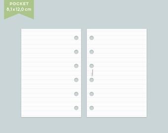 Notepaper Filofax - lines - 25 Sheets - Pocket