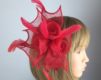 Red fascinator red rose comb - Wedding, Mother of the Bride, Ascot, Ladies Day, BBQ, party, Races, occasion tea party
