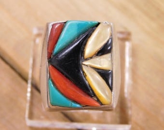 Large Mens Sterling Silver Inlay Ring Size 11